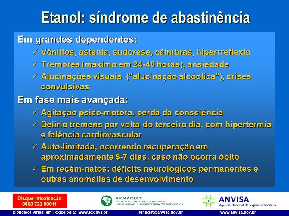 Disque-Intoxicação 0800 722 60011 Biblioteca virtual em Toxicologia: www.tox.bvs.brwww.anvisa.gov.brrenaciat@anvisa.gov.br Em grandes dependentes: Vôm