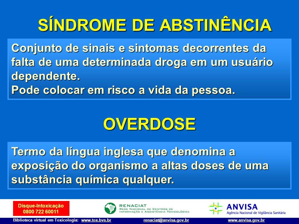Disque-Intoxicação 0800 722 60011 Biblioteca virtual em Toxicologia: www.tox.bvs.brwww.anvisa.gov.brrenaciat@anvisa.gov.br SÍNDROME DE ABSTINÊNCIA SÍN