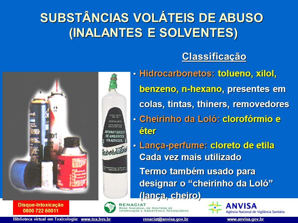 Disque-Intoxicação 0800 722 60011 Biblioteca virtual em Toxicologia: www.tox.bvs.brwww.anvisa.gov.brrenaciat@anvisa.gov.br SUBSTÂNCIAS VOLÁTEIS DE ABU