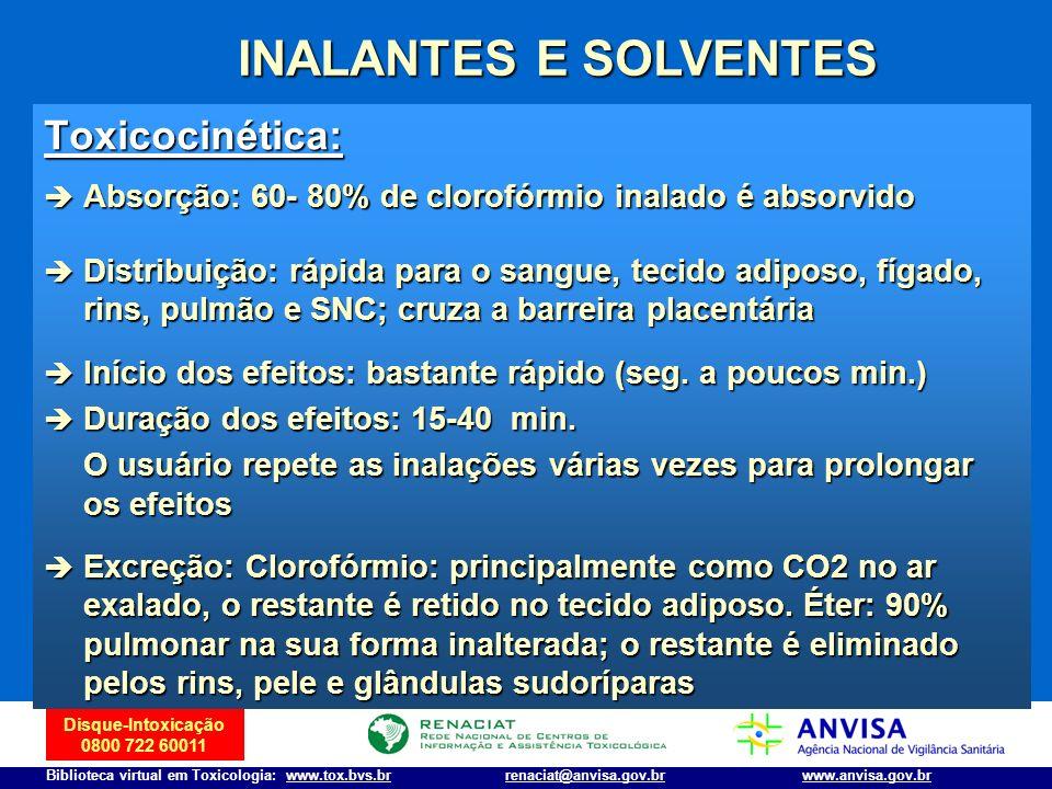 Disque-Intoxicação 0800 722 60011 Biblioteca virtual em Toxicologia: www.tox.bvs.brwww.anvisa.gov.brrenaciat@anvisa.gov.br INALANTES E SOLVENTES Toxic