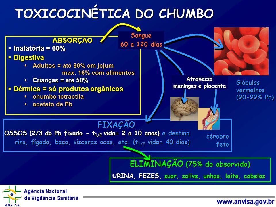 TOXICOCINÉTICA DO CHUMBO ABSORÇÃO Inalatória = 60% Inalatória = 60% Digestiva Digestiva Adultos = até 80% em jejum Adultos = até 80% em jejum max. 16%