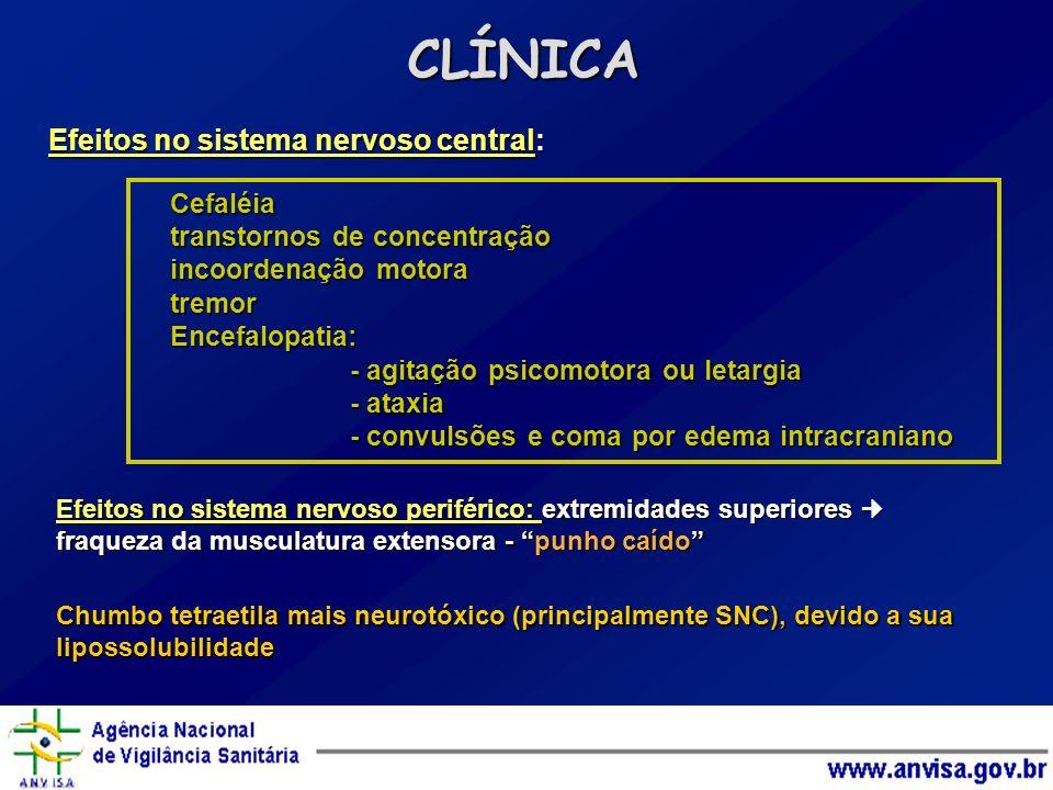 Efeitos no sistema nervoso central: CLÍNICA Cefaléia transtornos de concentração incoordenação motora tremorEncefalopatia: - agitação psicomotora ou l