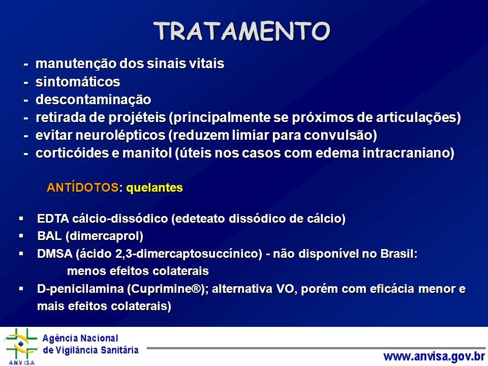 - manutenção dos sinais vitais - sintomáticos - descontaminação - retirada de projéteis (principalmente se próximos de articulações) - evitar neurolép