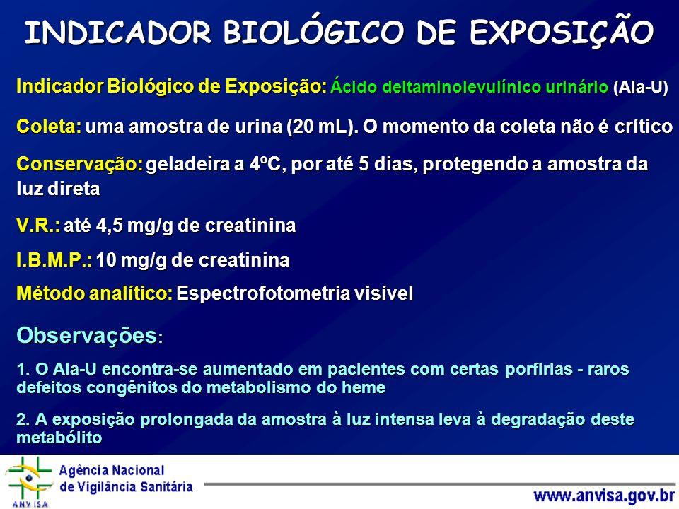 Indicador Biológico de Exposição: Ácido deltaminolevulínico urinário (Ala-U) Coleta: uma amostra de urina (20 mL). O momento da coleta não é crítico C
