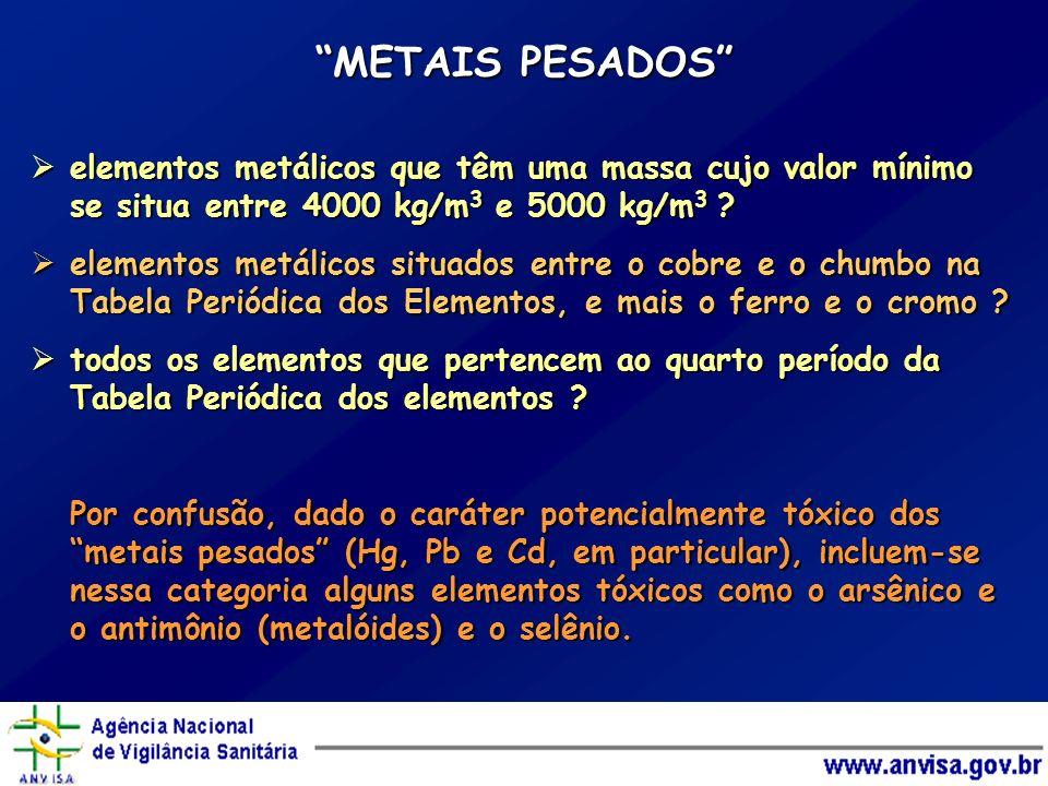 METAIS PESADOS elementos metálicos que têm uma massa cujo valor mínimo se situa entre 4000 kg/m 3 e 5000 kg/m 3 ? elementos metálicos que têm uma mass