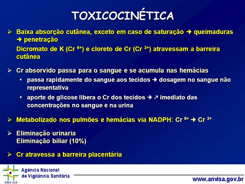 TOXICOCINÉTICA Baixa absorção cutânea, exceto em caso de saturação queimaduras penetração Baixa absorção cutânea, exceto em caso de saturação queimadu