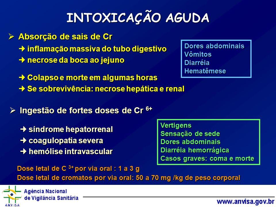 INTOXICAÇÃO AGUDA Absorção de sais de Cr Absorção de sais de Cr inflamação massiva do tubo digestivo inflamação massiva do tubo digestivo necrose da b