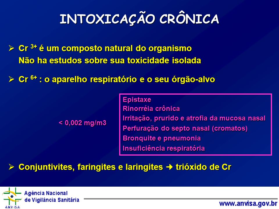 INTOXICAÇÃO CRÔNICA Cr 3+ é um composto natural do organismo Cr 3+ é um composto natural do organismo Não ha estudos sobre sua toxicidade isolada Cr 6