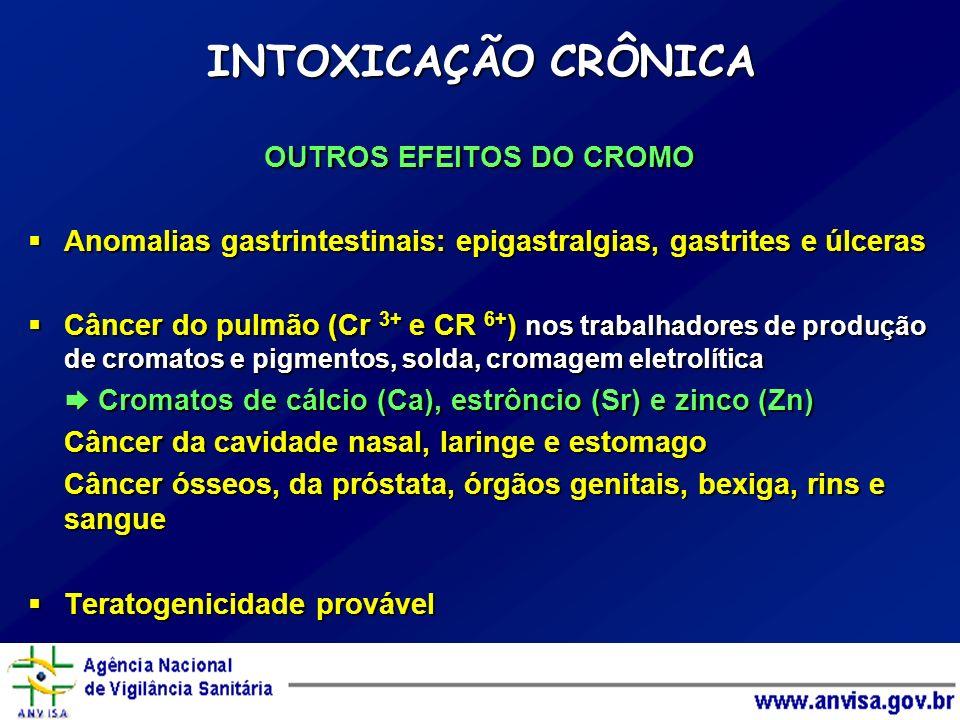 OUTROS EFEITOS DO CROMO Anomalias gastrintestinais: epigastralgias, gastrites e úlceras Anomalias gastrintestinais: epigastralgias, gastrites e úlcera