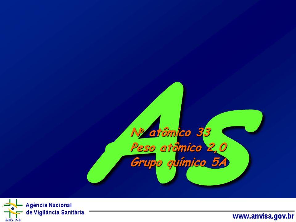 As N o atômico 33 Peso atômico 2,0 Grupo químico 5A