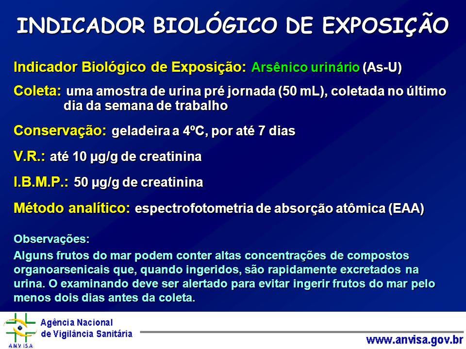 Indicador Biológico de Exposição: Arsênico urinário (As-U) Coleta: uma amostra de urina pré jornada (50 mL), coletada no último dia da semana de traba