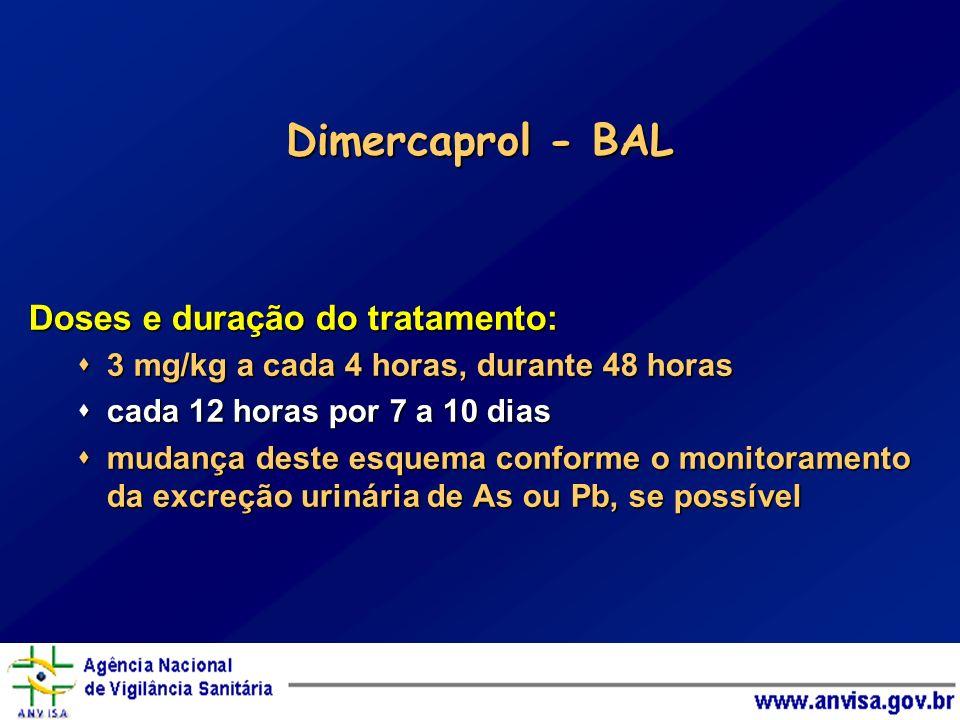 Dimercaprol - BAL Doses e duração do tratamento: 3 mg/kg a cada 4 horas, durante 48 horas 3 mg/kg a cada 4 horas, durante 48 horas cada 12 horas por 7