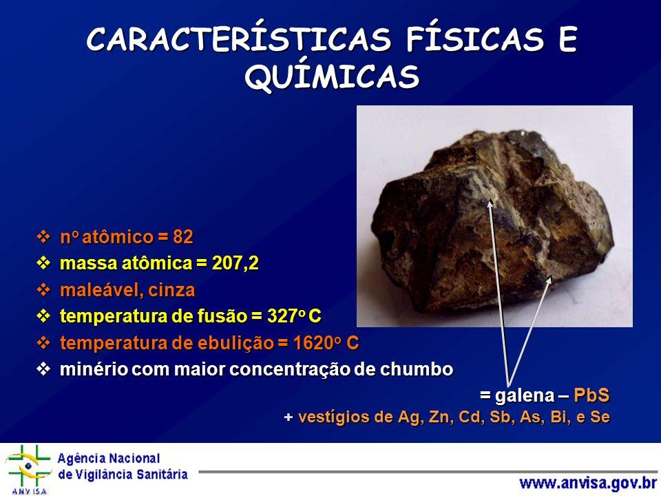 CARACTERÍSTICAS FÍSICAS E QUÍMICAS no atômico = 82 massa atômica = 207,2 maleável, cinza temperatura de fusão = 327o C temperatura de ebulição = 1620o