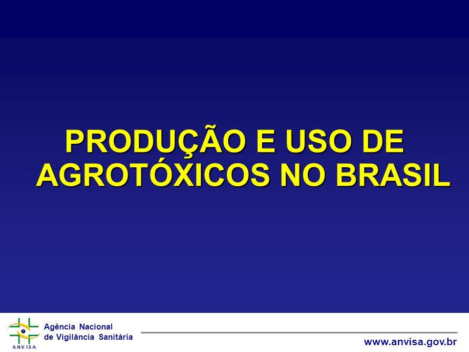 Agência Nacional de Vigilância Sanitária www.anvisa.gov.br PRODUÇÃO E USO DE AGROTÓXICOS NO BRASIL