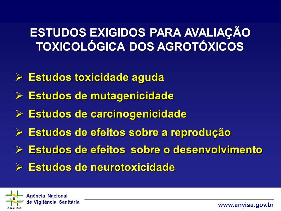 Agência Nacional de Vigilância Sanitária www.anvisa.gov.br ESTUDOS EXIGIDOS PARA AVALIAÇÃO TOXICOLÓGICA DOS AGROTÓXICOS Estudos toxicidade aguda Estud