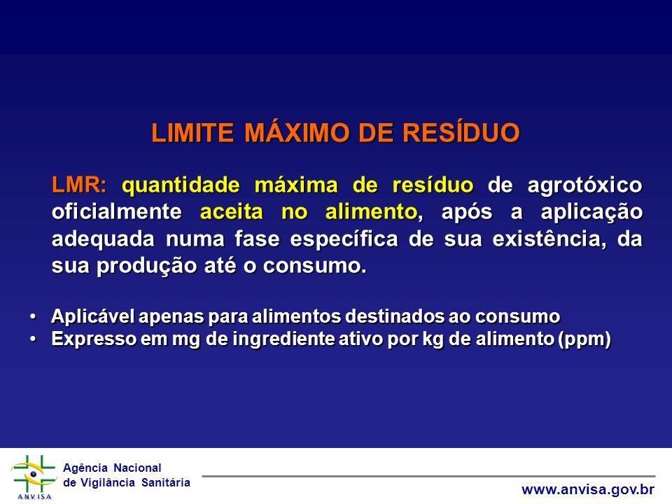 Agência Nacional de Vigilância Sanitária www.anvisa.gov.br LIMITE MÁXIMO DE RESÍDUO LMR: quantidade máxima de resíduo de agrotóxico oficialmente aceit