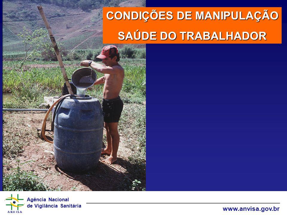 Agência Nacional de Vigilância Sanitária www.anvisa.gov.br CONDIÇÕES DE MANIPULAÇÃO SAÚDE DO TRABALHADOR