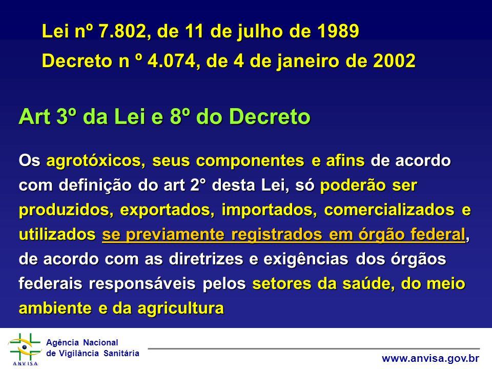 Agência Nacional de Vigilância Sanitária www.anvisa.gov.br Art 3º da Lei e 8º do Decreto Os agrotóxicos, seus componentes e afins de acordo com defini