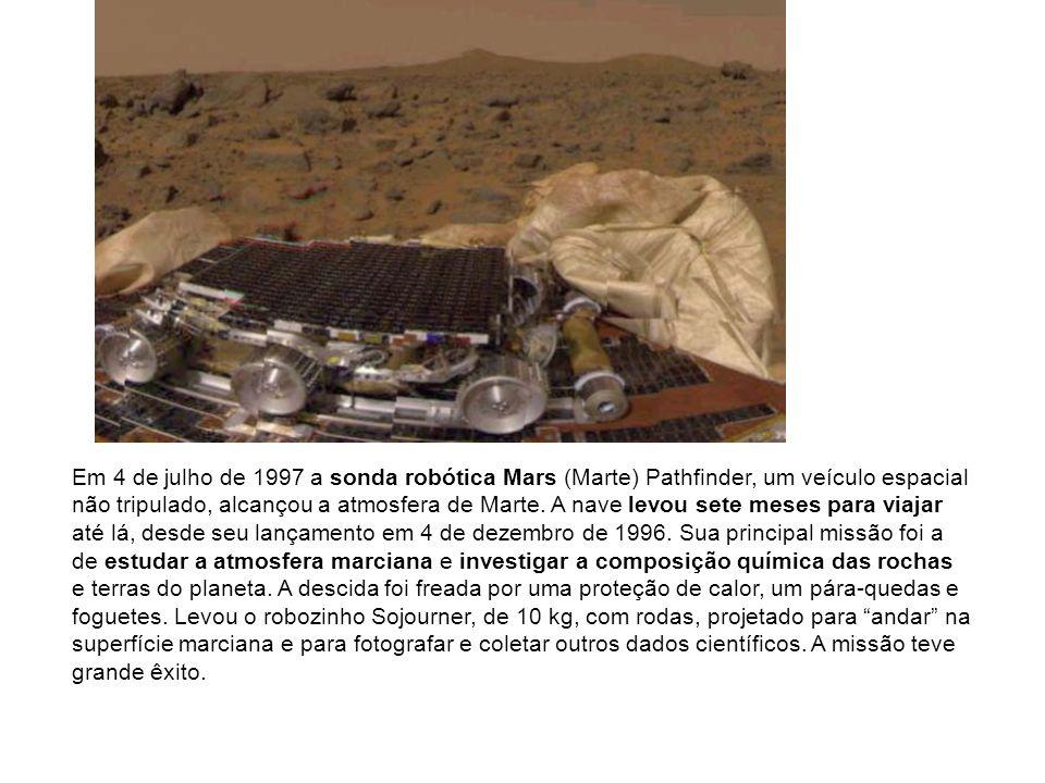 Em 4 de julho de 1997 a sonda robótica Mars (Marte) Pathfinder, um veículo espacial não tripulado, alcançou a atmosfera de Marte. A nave levou sete me