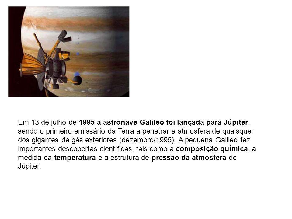 Em 13 de julho de 1995 a astronave Galileo foi lançada para Júpiter, sendo o primeiro emissário da Terra a penetrar a atmosfera de quaisquer dos gigan