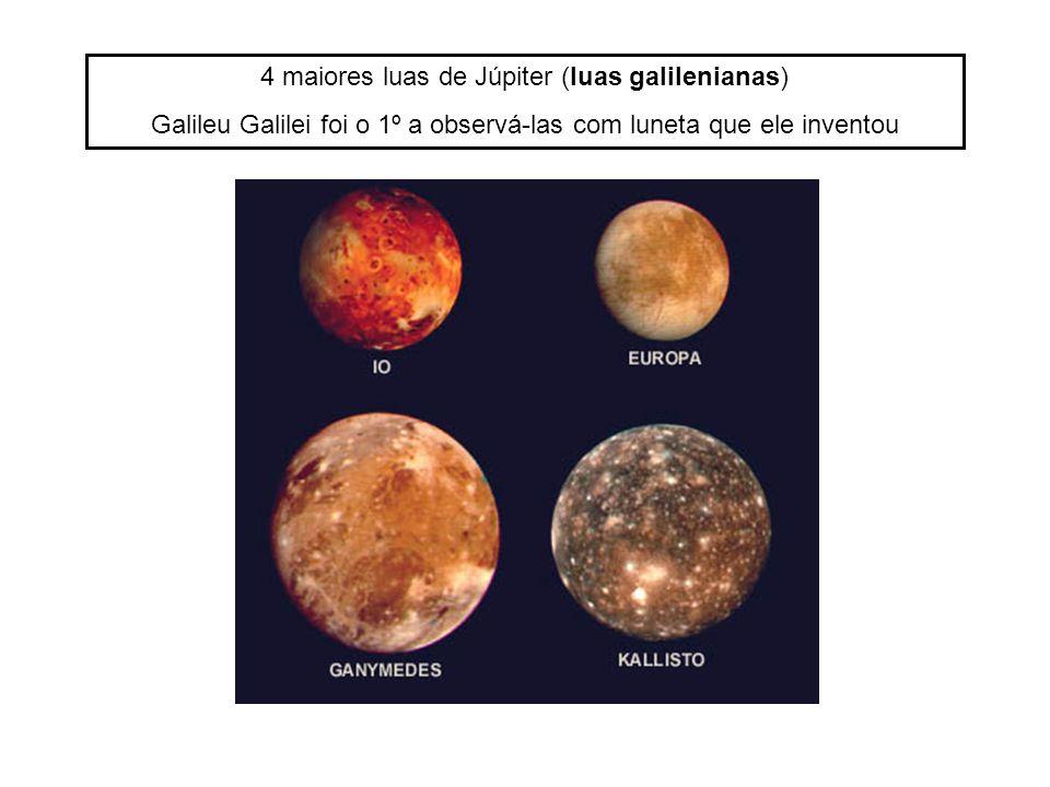4 maiores luas de Júpiter (luas galilenianas) Galileu Galilei foi o 1º a observá-las com luneta que ele inventou