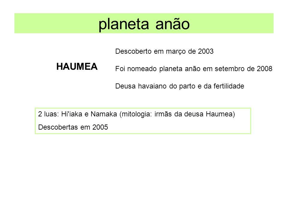 planeta anão HAUMEA Descoberto em março de 2003 Foi nomeado planeta anão em setembro de 2008 Deusa havaiano do parto e da fertilidade 2 luas: Hi'iaka