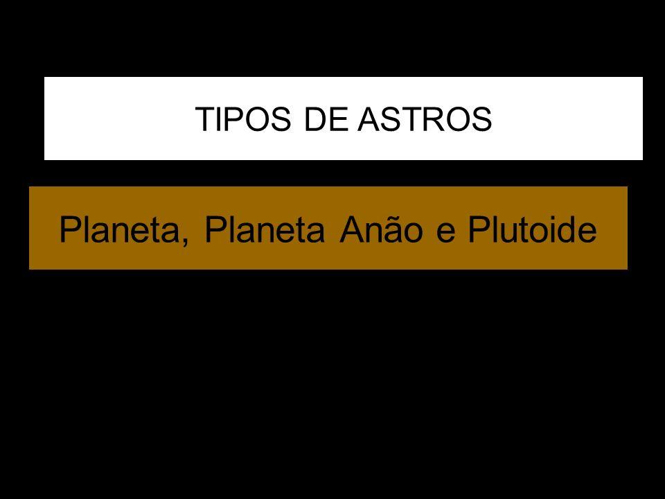 distância média de Plutão: 19.640 km diâmetro: 1270 km (Plutão - diâmetro: 2320 km) Imagem telescópio Hubble PLUTÃO Nix Hidra Em 2005 foram encontradas outras 2 luas pequenas ao redor de Plutão, que foram chamadas de Nix (deusa da escuridão) e Hidra (monstro mitológico com corpo de serpente e 9 cabeças) LUA CARONTE PLANETA ANÃO Metano sólido e gasoso, com possível núcleo rochoso deus do inferno (submundo): apresentava-se invisível