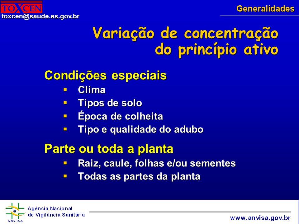 toxcen@saude.es.gov.br Clínica Início dos sintomas: 30- 2 h após ingestão Início dos sintomas: 30- 2 h após ingestão Gastrintestinais: náuseas, vômitos, cólicas abdominais, diarréia, acidose metabólica, hálito de amêndoas Gastrintestinais: náuseas, vômitos, cólicas abdominais, diarréia, acidose metabólica, hálito de amêndoas Neurológicos: sonolência, letargia, trismo, midríase, sonolência, opistótono, torpor, convulsões e coma Neurológicos: sonolência, letargia, trismo, midríase, sonolência, opistótono, torpor, convulsões e coma Respiratórios: dispnéia, apnéia, face asfíxica, cianose Respiratórios: dispnéia, apnéia, face asfíxica, cianose Cardiovasculares: hipotensão, choque, arritmias, sangue vermelho rutilante Cardiovasculares: hipotensão, choque, arritmias, sangue vermelho rutilante Distúrbios ácido-básico: acidose respiração de Kusmaul Distúrbios ácido-básico: acidose respiração de Kusmaul Alterações respiratórias - glicosídeos cianogênicos