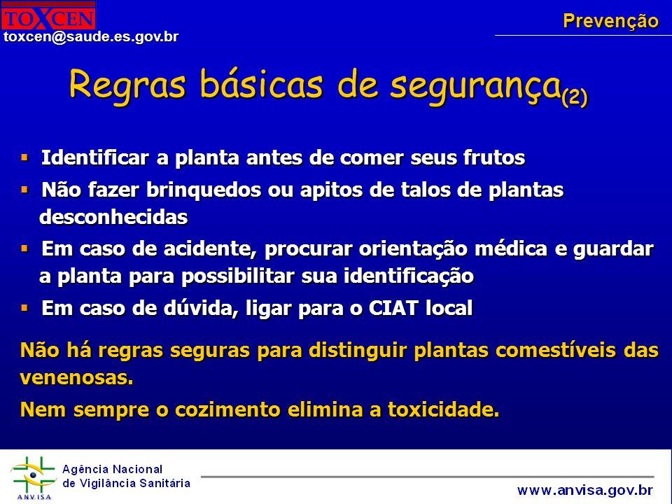 toxcen@saude.es.gov.br Tratamento Êmese – nos primeiros 30 min até 6 horas (diminuem a motilidade do aparelho digestivo) Êmese – nos primeiros 30 min até 6 horas (diminuem a motilidade do aparelho digestivo) Carvão ativado Carvão ativado Catárticos Catárticos Sintomáticos Sintomáticos Hipertermia - medidas físicas Hipertermia - medidas físicas Arritmias: propranolol Arritmias: propranolol Agitação psicomotora: benzodiazepínicos de ação curta Agitação psicomotora: benzodiazepínicos de ação curta Alterações neurológicas – alcalóides beladonados