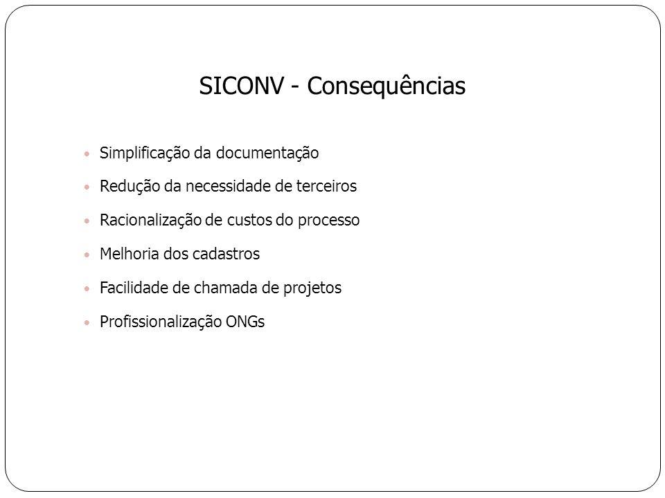 Simplificação da documentação Redução da necessidade de terceiros Racionalização de custos do processo Melhoria dos cadastros Facilidade de chamada de projetos Profissionalização ONGs SICONV - Consequências