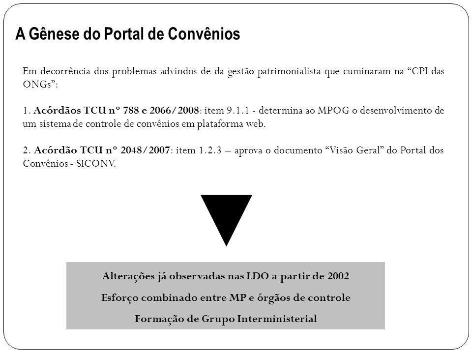 A Gênese do Portal de Convênios Em decorrência dos problemas advindos de da gestão patrimonialista que cuminaram na CPI das ONGs: 1. Acórdãos TCU nº 7