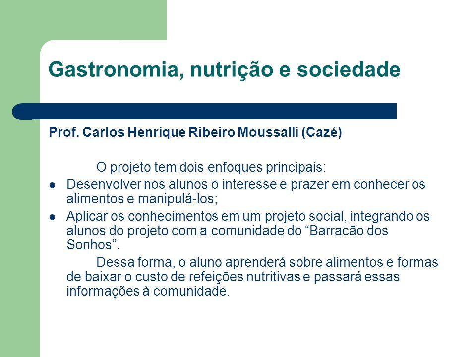 Gastronomia, nutrição e sociedade Prof.