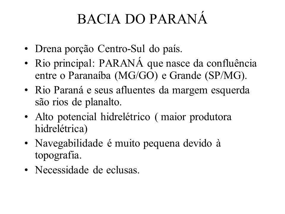 BACIA DO PARANÁ Drena porção Centro-Sul do país. Rio principal: PARANÁ que nasce da confluência entre o Paranaíba (MG/GO) e Grande (SP/MG). Rio Paraná