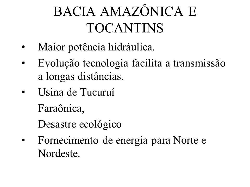 BACIA AMAZÔNICA E TOCANTINS Maior potência hidráulica. Evolução tecnologia facilita a transmissão a longas distâncias. Usina de Tucuruí Faraônica, Des