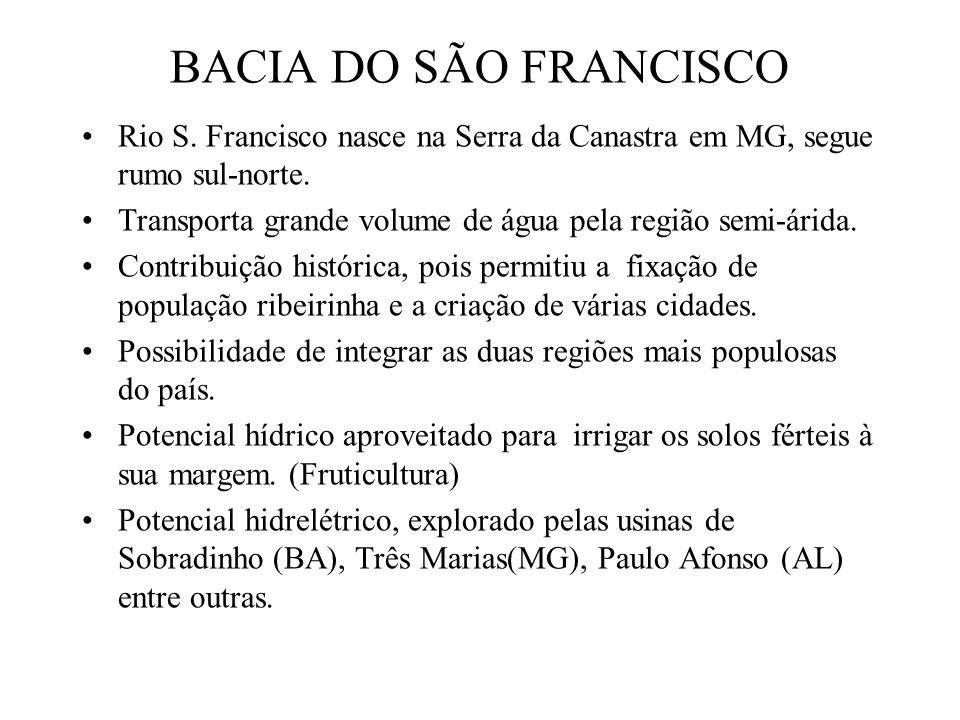 BACIA DO SÃO FRANCISCO Rio S. Francisco nasce na Serra da Canastra em MG, segue rumo sul-norte. Transporta grande volume de água pela região semi-árid