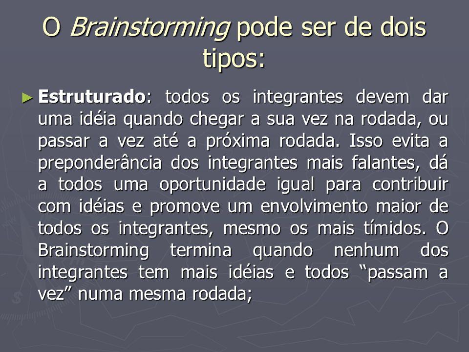 O Brainstorming pode ser de dois tipos: Estruturado: todos os integrantes devem dar uma idéia quando chegar a sua vez na rodada, ou passar a vez até a