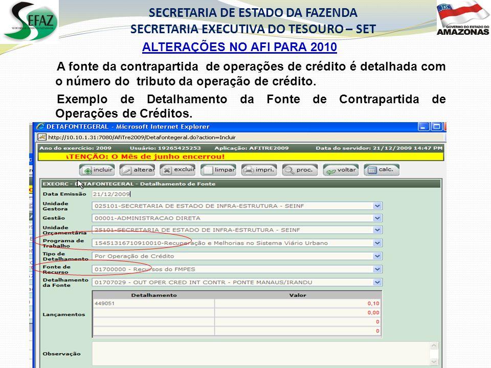 ALTERAÇÕES NO AFI PARA 2010 SECRETARIA DE ESTADO DA FAZENDA SECRETARIA EXECUTIVA DO TESOURO – SET A fonte da contrapartida de operações de crédito é d