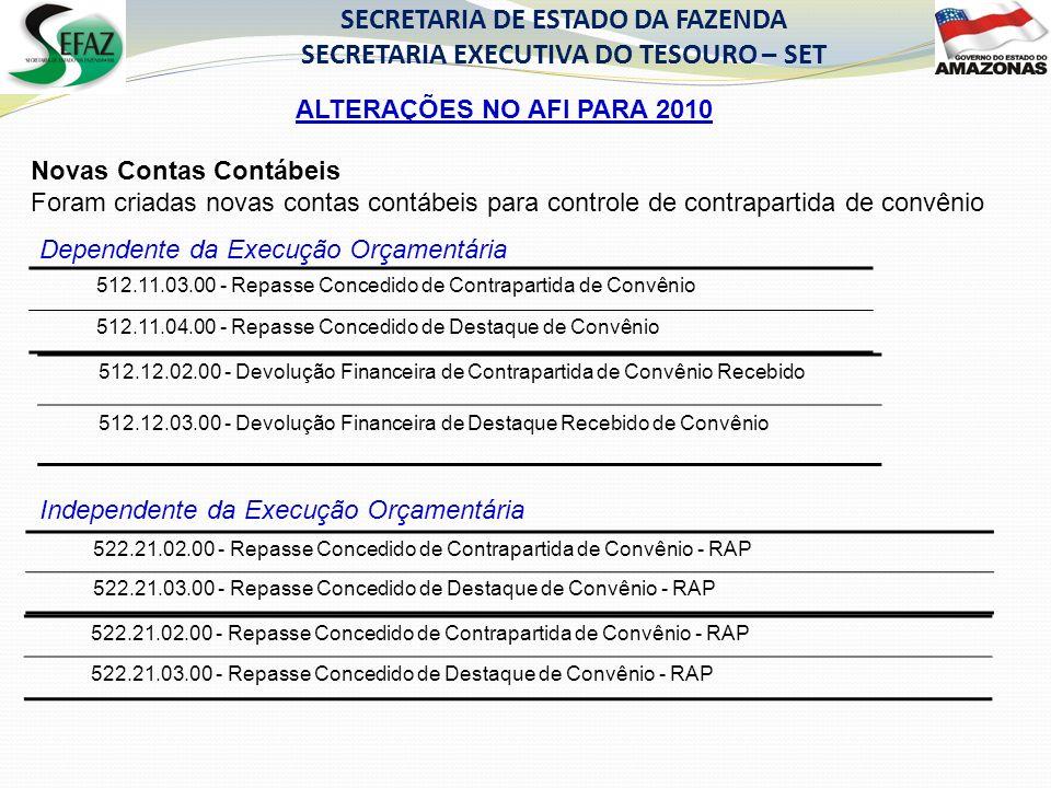 SECRETARIA DE ESTADO DA FAZENDA SECRETARIA EXECUTIVA DO TESOURO – SET Novas Contas Contábeis Foram criadas novas contas contábeis para controle de con