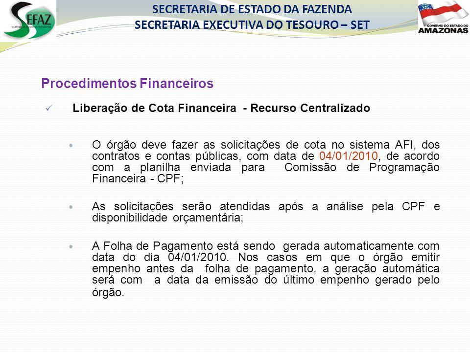 Procedimentos Financeiros Liberação de Cota Financeira - Recurso Centralizado O órgão deve fazer as solicitações de cota no sistema AFI, dos contratos