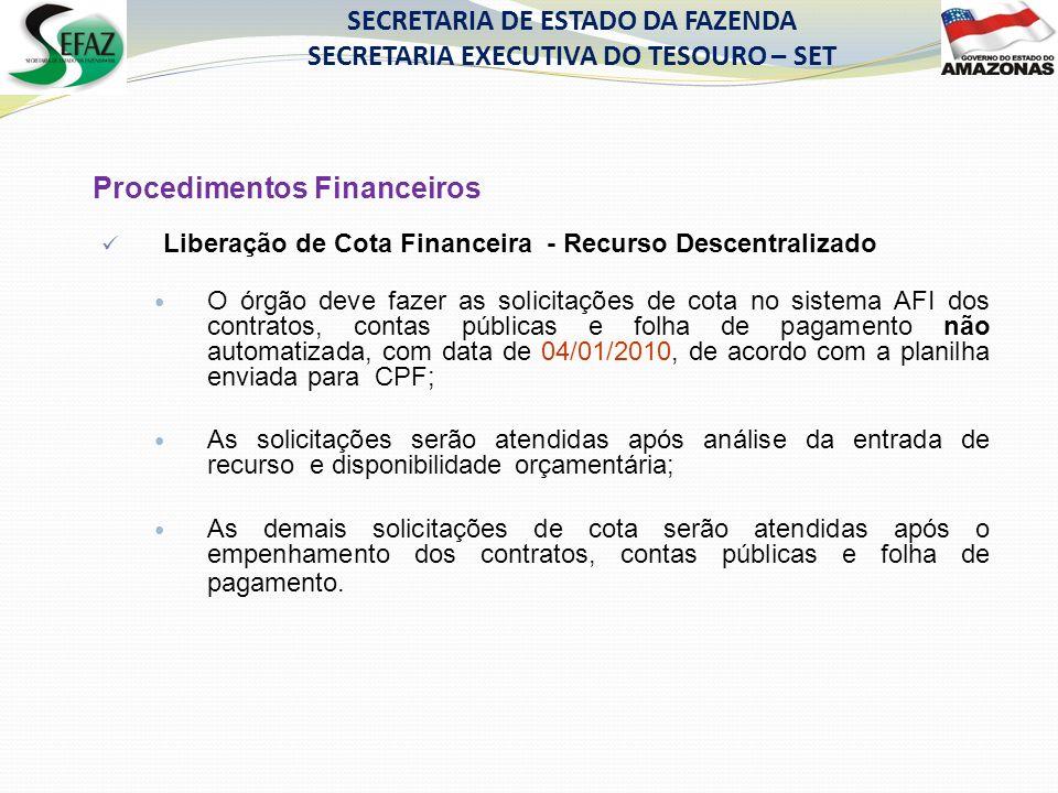 SECRETARIA DE ESTADO DA FAZENDA SECRETARIA EXECUTIVA DO TESOURO – SET Procedimentos Financeiros Liberação de Cota Financeira - Recurso Descentralizado