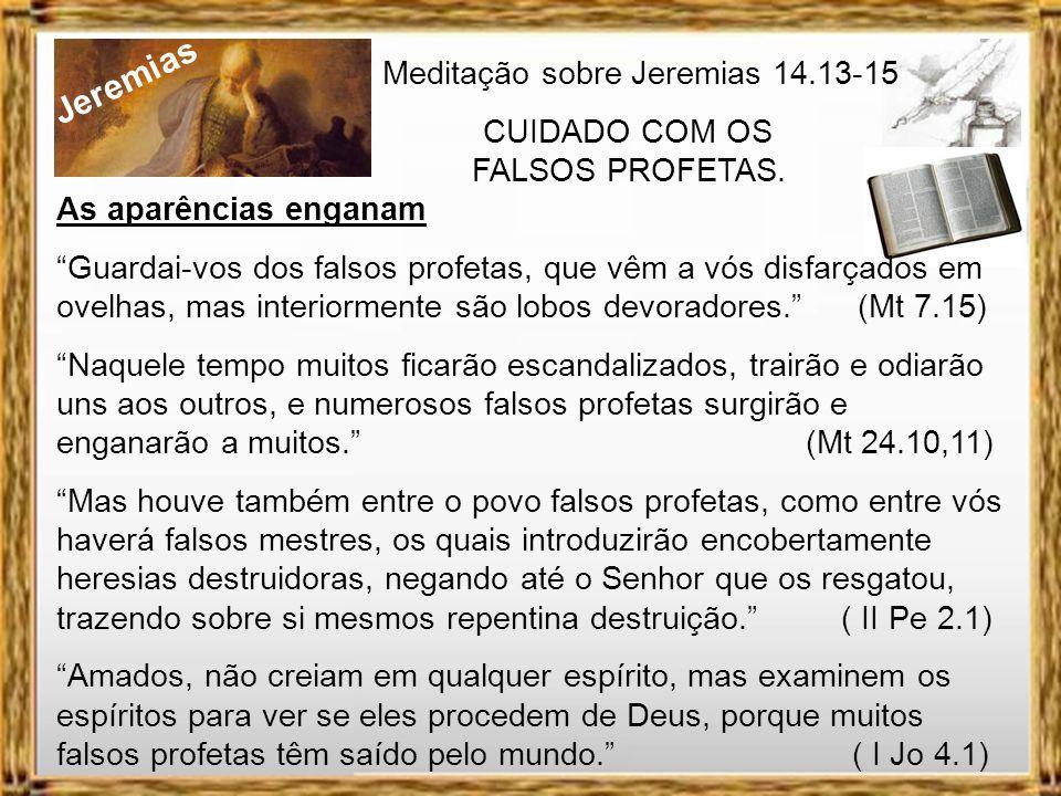 Jeremias Meditação sobre Jeremias 14.13-15 CUIDADO COM OS FALSOS PROFETAS. Profetas que mentem Ouvi o que dizem os profetas, que profetizam mentiras e