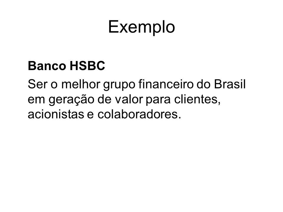 Exemplo Banco HSBC Ser o melhor grupo financeiro do Brasil em geração de valor para clientes, acionistas e colaboradores.