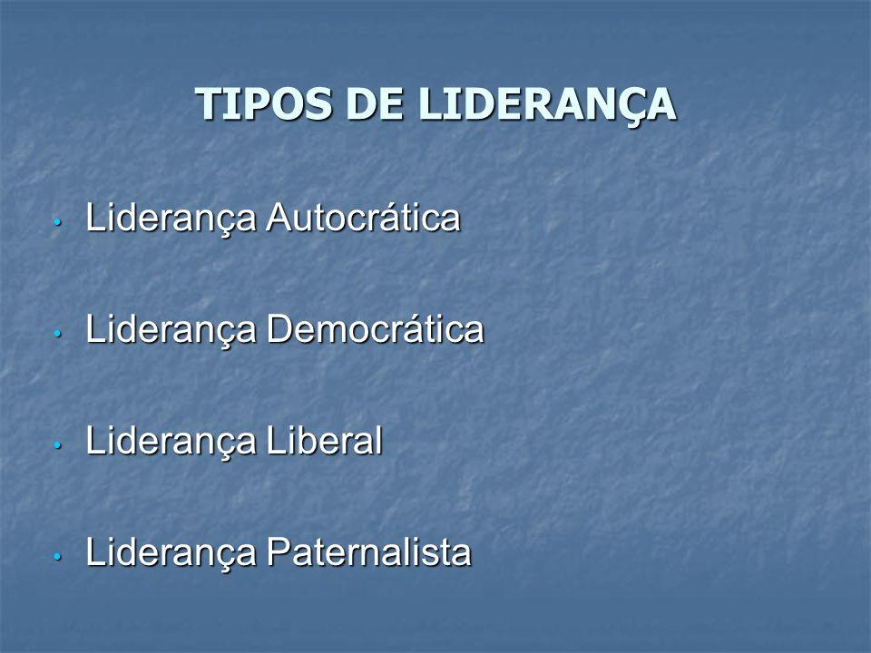 TIPOS DE LIDERANÇA Liderança Autocrática Liderança Autocrática Liderança Democrática Liderança Democrática Liderança Liberal Liderança Liberal Lideran