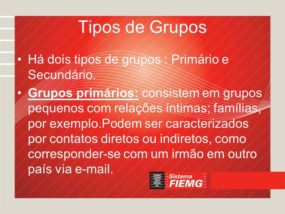 Tipos de Grupos Há dois tipos de grupos : Primário e Secundário. Grupos primários: consistem em grupos pequenos com relações íntimas; famílias, por ex