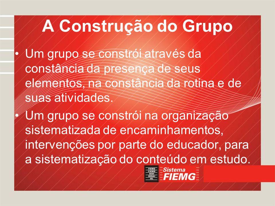 A Construção do Grupo Um grupo se constrói através da constância da presença de seus elementos, na constância da rotina e de suas atividades. Um grupo