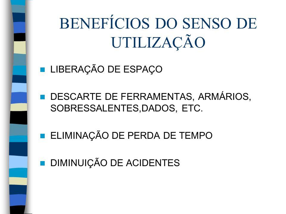 BENEFÍCIOS DO SENSO DE UTILIZAÇÃO LIBERAÇÃO DE ESPAÇO DESCARTE DE FERRAMENTAS, ARMÁRIOS, SOBRESSALENTES,DADOS, ETC. ELIMINAÇÃO DE PERDA DE TEMPO DIMIN