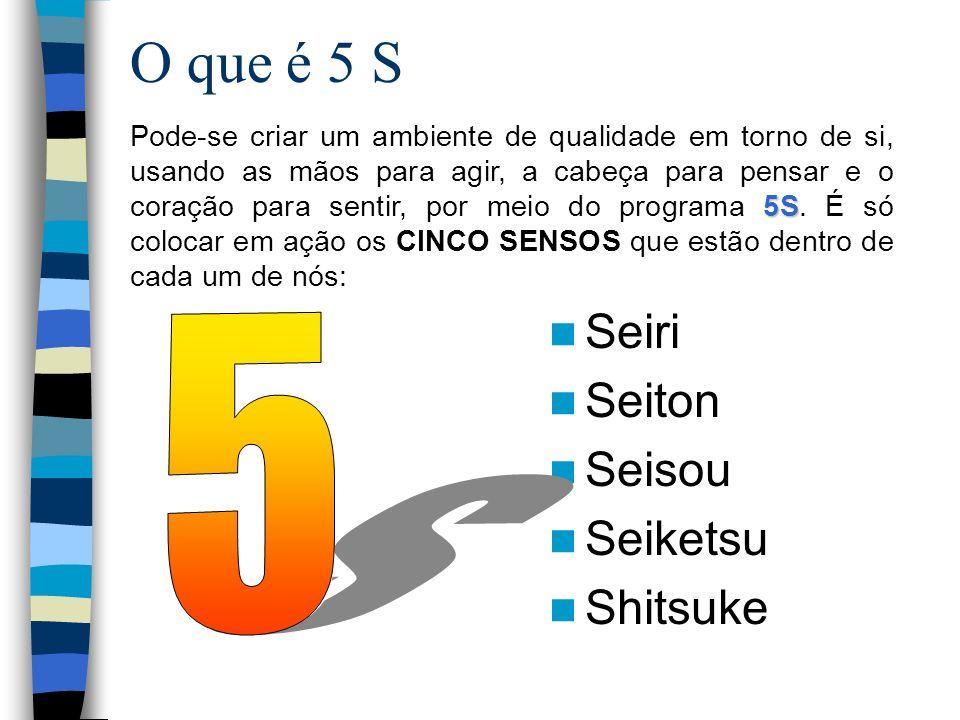 O que é 5 S Seiri Seiton Seisou Seiketsu Shitsuke 5S Pode-se criar um ambiente de qualidade em torno de si, usando as mãos para agir, a cabeça para pe