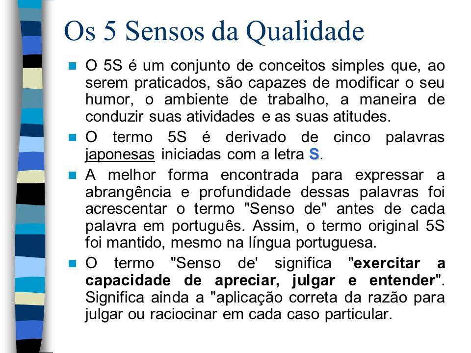 Os 5 Sensos da Qualidade O 5S é um conjunto de conceitos simples que, ao serem praticados, são capazes de modificar o seu humor, o ambiente de trabalh