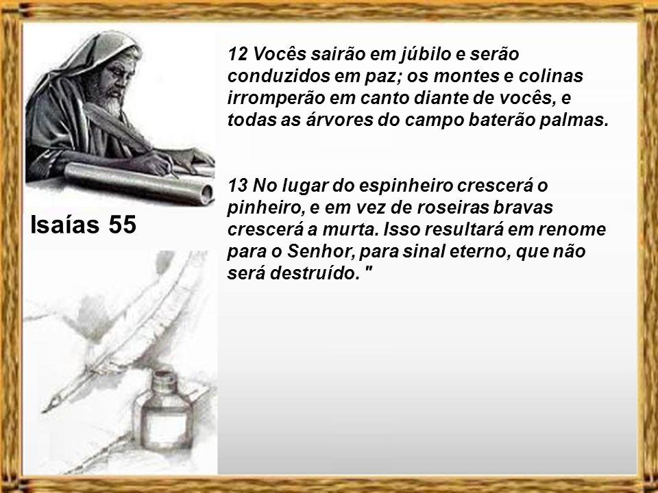 Isaías 55 12 Vocês sairão em júbilo e serão conduzidos em paz; os montes e colinas irromperão em canto diante de vocês, e todas as árvores do campo baterão palmas.