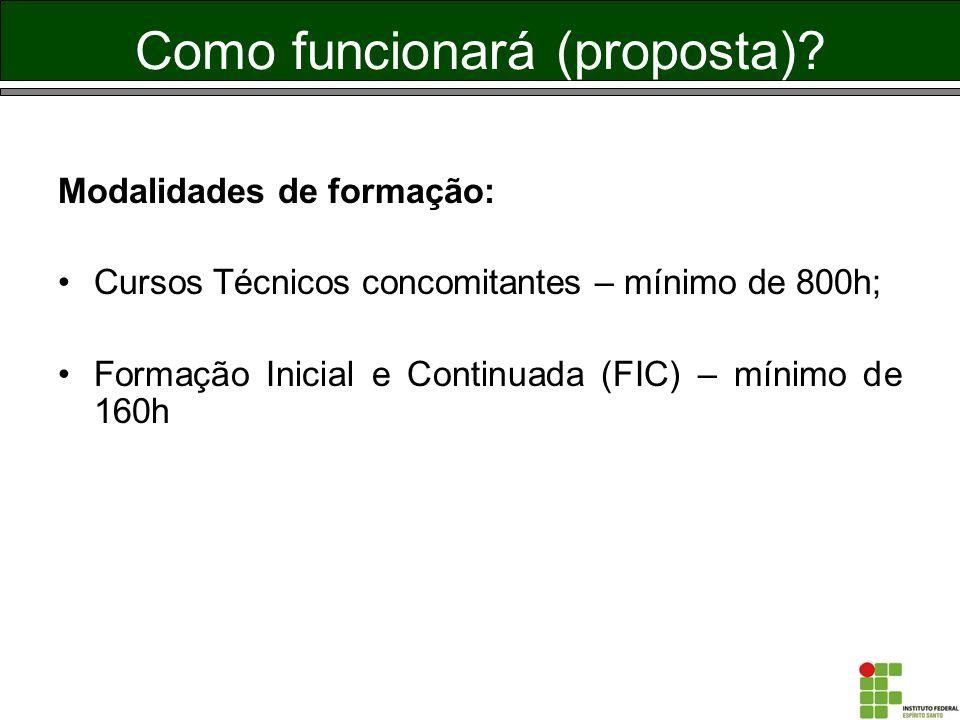 Como funcionará (proposta)? Modalidades de formação: Cursos Técnicos concomitantes – mínimo de 800h; Formação Inicial e Continuada (FIC) – mínimo de 1